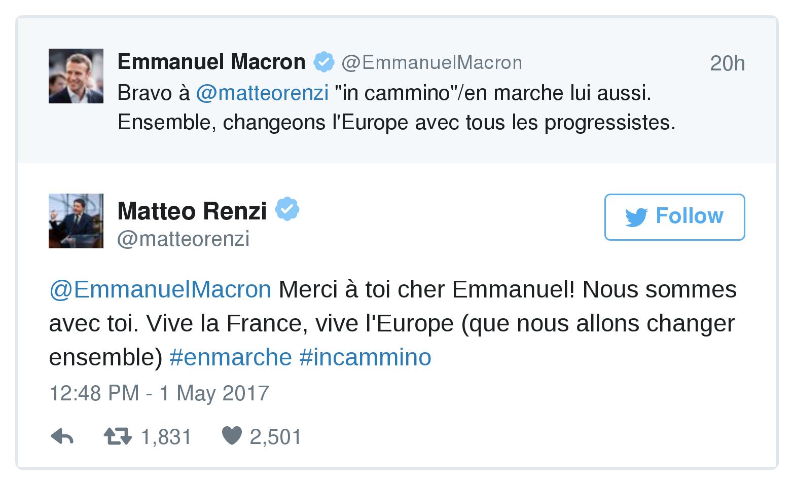 Scambio di auguri su Twitter il candidato all'Eliseo Macron si congratula con Renzi e l'ex premier ringrazia Siamo con voi