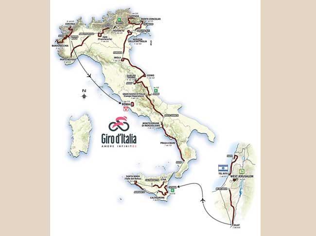 Il percorso del Giro d'Italia 2018 che partirà da Gerusalemme venerdì 4 maggio per concludersi dopo 3.546,2 km domenica 27 maggio a Roma
