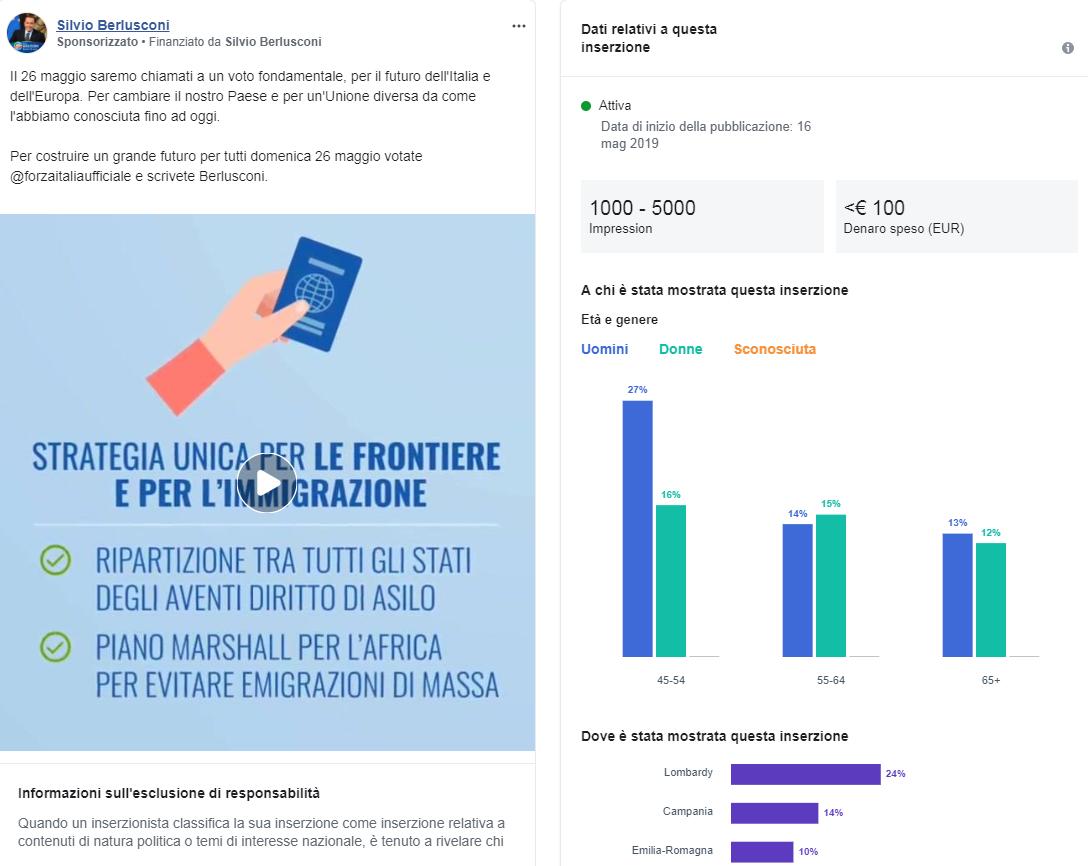 e8a275b7af ... Italia riguardante il presidente del Parlamento europeo Antonio Tajani,  targhettizzato a livello regionale: il 57% degli utenti raggiunti, infatti,  ...
