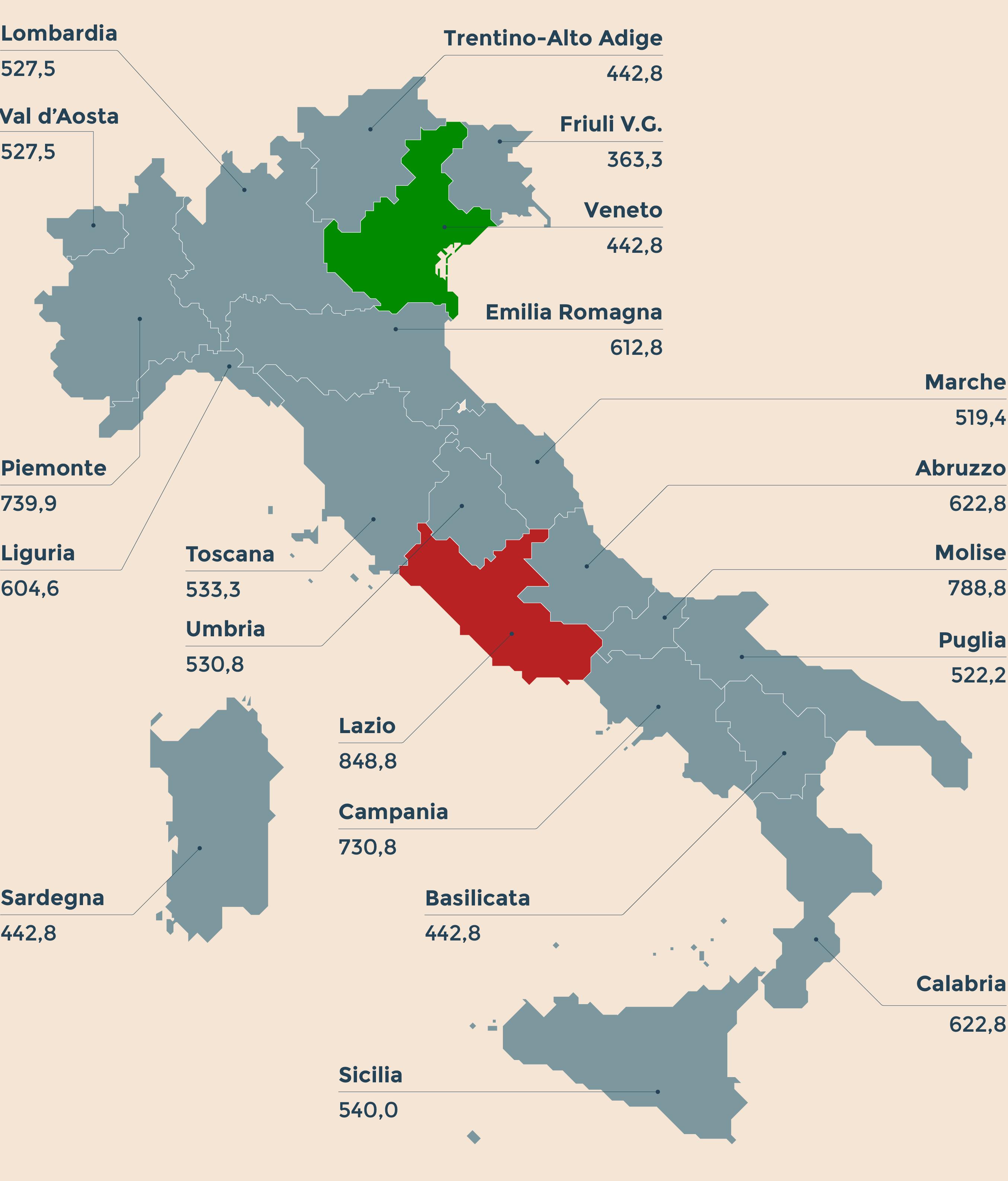 Fisco: addizionale regionale Irpef, in testa il Lazio, in mezzo la Toscana