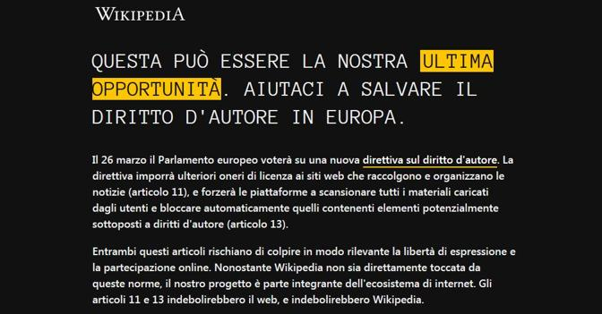 Copyright, Wikipedia «oscura» pure la pagina italiana contro la direttiva Ue